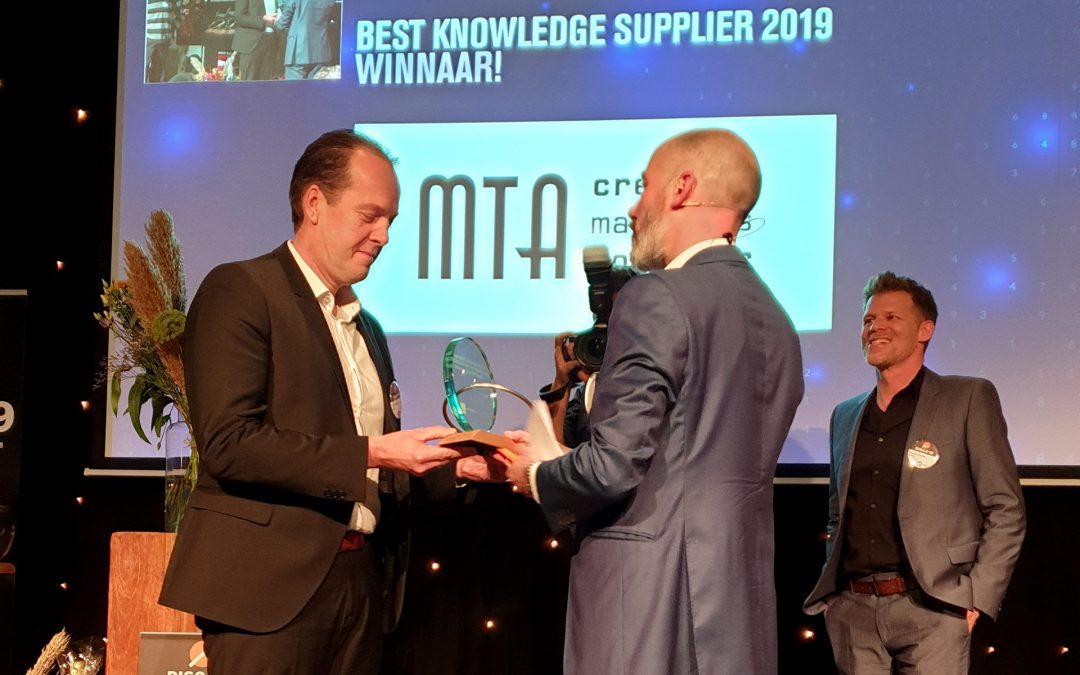 MTA wint Award Best Knowledge Supplier van Nederland 2019